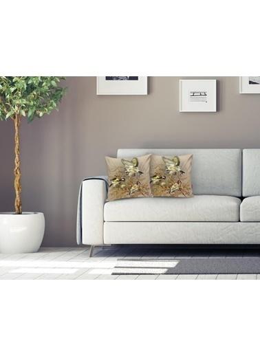 Real Homes Saka Kuşlu Dijital Baskılı Dekoratif Yastık Kırlent Kılıfı Renkli